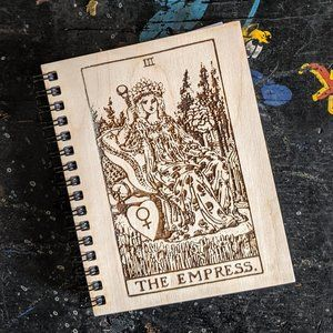 The Empress Tarot Card Wooden Etched Notebook